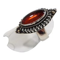 Suarti Ornate Bali Textured Sterling Silver Genuine  Amber Ring  Size 7.5