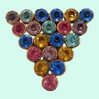 Art Deco Triangular Shaped Multi Colored Rhinestone Goldtone Metal Dress Clip