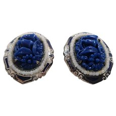 Coro Pair of Textured Floral Blue Silvertone Imitation Pearl Dress Clips