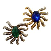 Large Dimensional Matched Pair  Blue Green Rhinestone Brooch Fur Clip