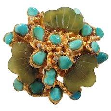 Swoboda Green Blue  Genuine  Stone Nuggets Adjustable Ring