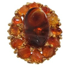Swoboda Orange Browns Genuine Stone Nuggets Adjustable Ring
