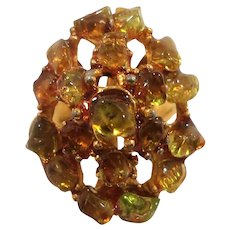 Swoboda Dimensional  Green Citrine Genuine Nuggets Adjustable Ring