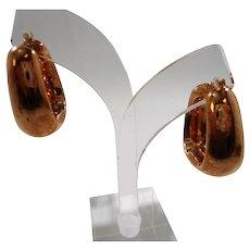 Rectangular Shaped Hoop Vermeil Sterling Silver Pierced Earrings
