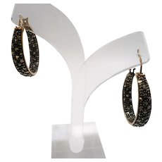 Textured Sterling Sterling Genuine Marcasite Hoop Shaped Pierced Earrings