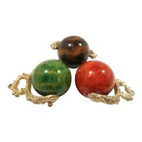 Set of Three Large Marbled Green Red Brown Bakelite Dangle Spinning Goldtone Pendants NOS