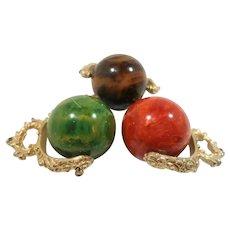 Set of Three Large Marbled Green Red Brown Bakelite Dangle Spinning Goldtone Pendants NOS