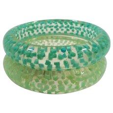 Seafoam Green Spring Green Confetti Lucite Bangle Bracelets