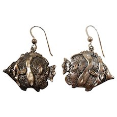 Textured Sterling Silver Dangle Fish Pierced Earrings