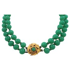 Double Strand Deep Green Glass Beaded Choker Necklace Ornate Clasp