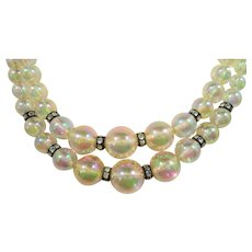 Richelieu Soap Bubble Beaded Double Strand Choker Necklace
