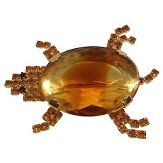 Large Sea Turtle Brooch Citrine Givre Glass Stone Rhinestones