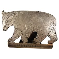Sheffield Etched Sterling Silver Bear Bermuda Mens Vanity Souvenir Item