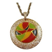 Beeline Retro Green Yellow Red Enameled Double Sided Mirror Pendant Necklace