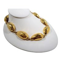 Anne Klein Bold Textured Shiny Goldtone Metal Domed Oval Shaped Links Statement Necklace