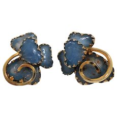 Kramer Dimensional Periwinkle Blue Glass Stones Clip on Earrings
