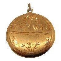 Gold Filled Locket Etched Birds Designs