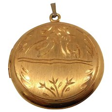 Gold Filled Locket Etched Birds Designs
