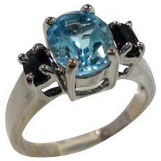Oval Shaped Blue  Stones Sterling Silver Ring  Size 8