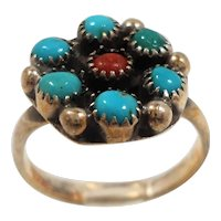 Sterling Silver Genuine Blue Red Stones RIng Size 6