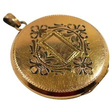 Gold Filled Etched Flowers Bows Photo Locket
