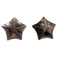 Small Sterling Silver Star Shaped Pierced Earrings