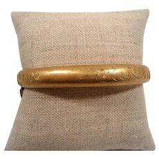 Etched Textured Engraved Gold Filled Bangle Bracelet