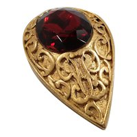 Large Textured Oval Shaped Goldtone Valentine Red Rhinestone Statement Brooch
