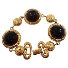 Ornate Textured Goldtone Red Domed Glass Cabochons Bracelet