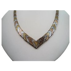 Large Woven Textured Chevron Tri Color Sterling Silver V Shaped Necklace