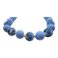 Periwinkle Blue Art Glass Beaded Choker Necklace