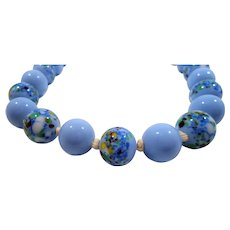 Periwinkle Blue Art Glass Beaded Choker Necklace