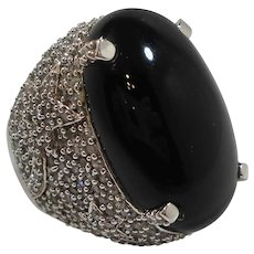 Huge Bold Black Glass Cabochon CZs  Sterling Silver Ring Size 8.5