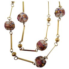 Large Round Pink Gold Venetian Glass Wedding Cake Beaded Necklace
