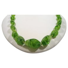 Swirled Lime Apple Green Art Glass Beaded Necklace
