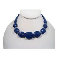Blue Oval Shaped Glass Beaded Choker Necklace