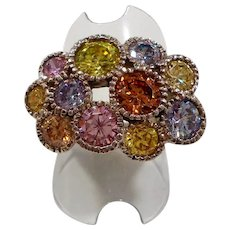 Dimensional Pastel Multi Colored CZs Sterling Silver Ring Size 8