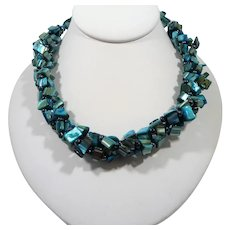 Blue Teal Green Dyed Mother Of Pearl Beaded Choker Necklace