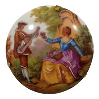 Limoges France Courting Couple Hand Painted Large Round Porcelain Brooch