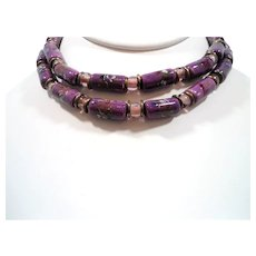 Oval Shaped Purple Ceramic Glass Beaded Single Strand Necklace