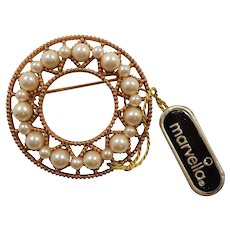 Marvella Goldtone Metal Imitation Pearls Circle Pin Mint with Tag
