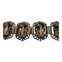 Oriental Geisha Figural Design Black Glass Cabochon Panel Bracelet