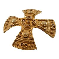 Accessocraft NYC Ornate Textured Dimensional Maltese Cross Brooch Pendant