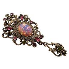 Sarah Coventry Contessa Pink Opal Rhinestones Dangle Pendant  Brooch