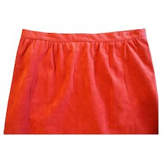Retro Ultrasuede Orange Red A Line Skirt Circa 1970s Size Medium