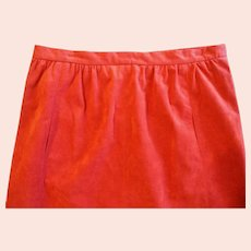 Retro Ultrasuede Orange Red A Line Skirt Circa 1970s