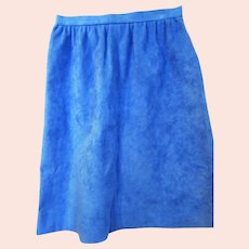 Retro Powder Blue Ultra Suede  A Line Skirt Circa 1970s