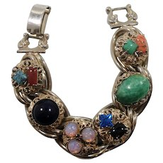 Multi-Colored Glass Stones Chunky Double Link Bracelet