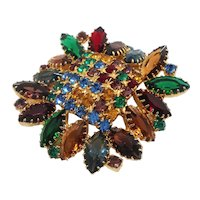 Dimensional Multi Colored Glass Rhinestones Sawtooth Goldtone Brooch