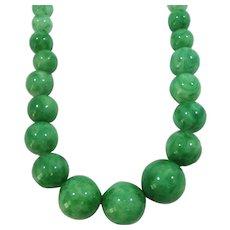 Graduated Round Peking Green Glass Beaded Choker Necklace